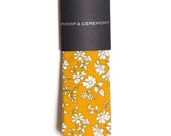 SKINNY TIE Pomp and Ceremony, Men's skinny tie, Liberty of London Capel mustard