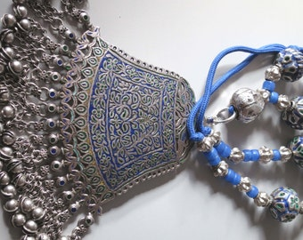 Antique tribal silver enamel Himachal Pradesh pendant and large enamel Multan and silver beads necklace, 345 grams!