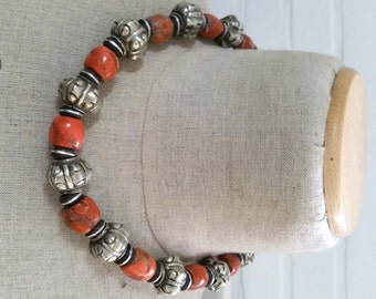 Vintage Asian? Tribal necklace with large coral beads and high grade silver ball beads 110 grams.
