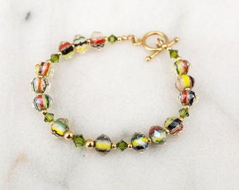 Swarovski Crystal Bracelet, Christmas Jewelry Beaded Bracelet