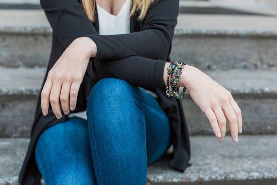Memory Wire Bracelet, Bohemian Jewelry, Gemstone Bracelets