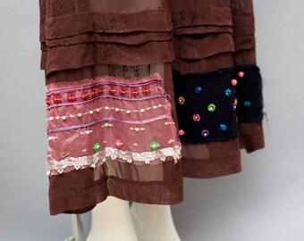 90s COMME DES GARCONS sheer chocolate brown eyelet embellished patchwork maxi skirt vintage 1990s