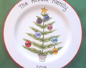 Custom Christmas Platter,  Personalized Platter,  Gift for Parents, Christmas Gift for Grandparents, Christmas  Family Tree Plate