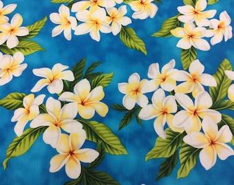 Hawaiian Print In Cotton With Plumeria  (Yardage Available)