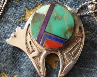 Sterling Silver & Semi Precious Stones Navajo Artist Made Bear Pin/ Pendant w/ Chain