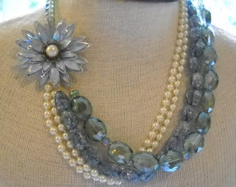 Repurposed Vintage Necklace Chunky Blue Glass Beads Pearls Enamel Flower FREE shipping