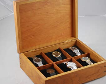 Handcrafted Cherry Watch Box -- Holds 6 Watches