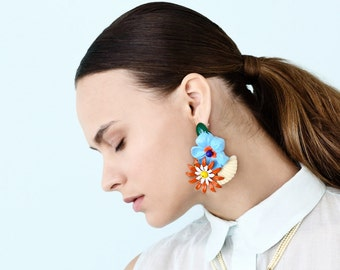 Party Earrings, Big Chunky Statement Earring, Bold Colorful Flowers light weight earrings, Unique Women's Oversize Jewelry