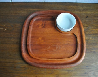 JHQ Jens Quistgaard Dansk Party Tray Teak with dip holder cup