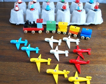 Shackman 1950s wood birthday cake toppers train people airplanes and rhinoceros whimsical colorful Made in Japan