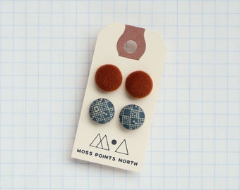 Fabric Button Earrings | Set of Two Pairs | Pair of Earrings | Patterned Earrings
