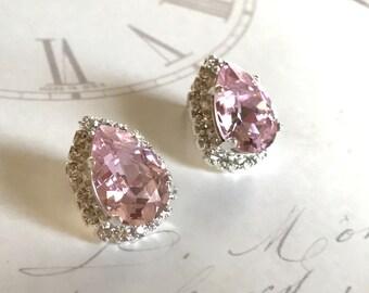 Soft Pink Crystal Stud Earrings Swarovski Crystal Earrings Vintage Style Crystal Bridal Earrings Bridal Earrings Wedding Jewelry