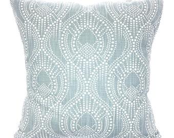 Blue White Pillow Covers Decorative Pillows Cushion Covers Regal Gray-Blue White Slub Canvas Alyssa Couch Bed Sofa Pillows Various SIZES