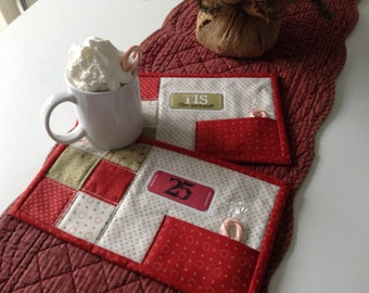 """QUILTED CHRISTMAS MUGRUGS,  Cookie Pockets, 6"""" x 11"""", Traditional Christmas Colors, Machine Quilted, Iron-On Labels, Handmade, Ready To Ship"""