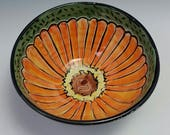 Reserved for Abbi  Ceramic Bowl -  Pottery Bowl - Orange Zinnia Flower - Majolica Bowl - Green -  Serving Bowl