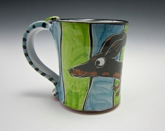Ceramic Coffee Mug - Black and Tan Dachshund Wiener Dog - Green Blue - Majolica Mug - 14 ounces oz - Pottery Tea Cup - Pet Dog Mug - Cup