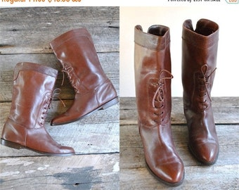 25% off sale - Flat Heel Boots Size 38.5  //  80s Boots //  Lace Up Leather Boots Size 8  //   MADE in ITALY