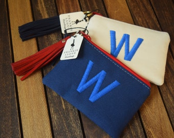 Chicago Cubs Coin Purse, Cubs Coin Bag, Chicago Cubs Embroidered Bag, W Bag