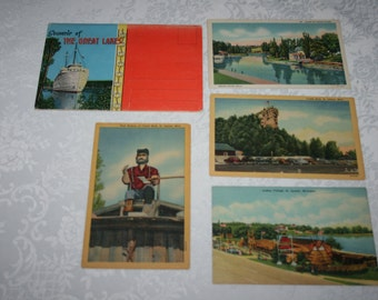 Vintage 1930s Fold Up Packet of 18 Photos of Great Lakes Michigan PLUS 4 Extra Postacards St. Ignace & Indian River Michigan