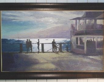 Front Street Sunset painting Lahaina Maui Cheeseburger in Paradise oil painting original art Maui Hawaii