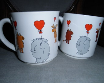 Pair of Colorful Vintage BOYNTON Mugs, Animal Characters floating with Heart Balloons