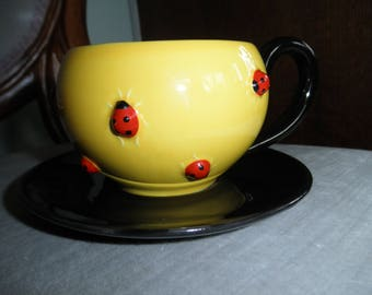 Vintage Dept 56 Ladybug Cup and Saucer,  NEW condition, Ladybugs on Yellow and Black China