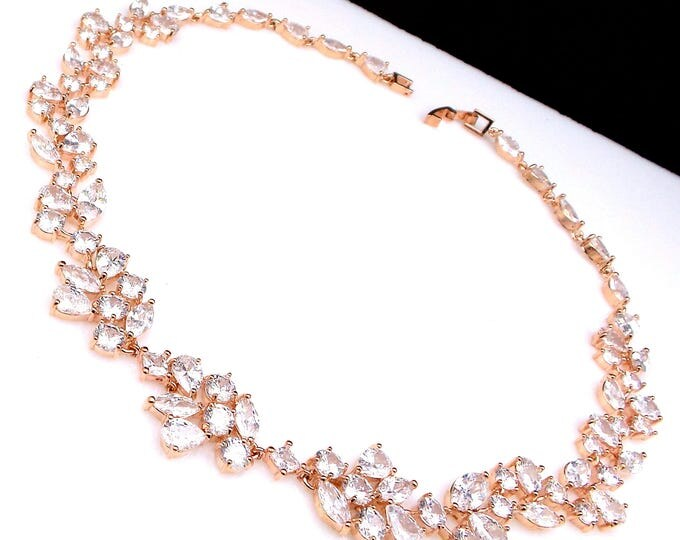 bridal necklace wedding jewelry prom pageant party clear white AAA multishape cubic zirconia vine chocker rose gold statement necklace