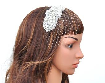 Bridal headband with small veil, Wedding headband, Bridal Headpiece, Pearl and crydtals Wedding Headband