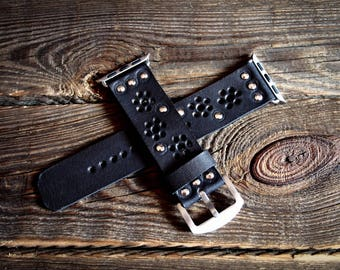 Black Bohemian Vintage Apple Watch Band Strap 38mm/  Handmade leather strap/band for Apple Watch 38mm
