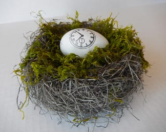 Bird Nest Clock Face Rustic Spring Home Decor by PerchAndPatina on Etsy