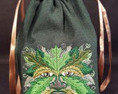 Reserved for Tom B. Green Man Embroidered Tarot Bag/Pouch