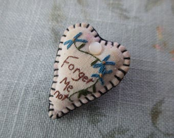 vintage heart shaped pin - handmade, embroidered, flowers, romantic, forget me not
