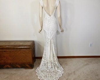 Beautiful Vintage Inspired Wedding dress Mermaid Wedding Dresses BOHO Wedding Dress IVORY LACE wedding Dress Handmade Sz Large