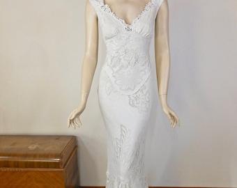 Beautiful Vintage Inspired Wedding dress Mermaid Wedding Dresses BOHO Wedding Dress IVORY LACE wedding Dress Handmade Sz Large