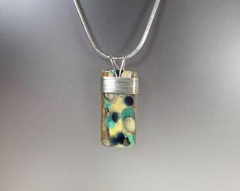 """Beach Pebbles -  Fused Glass Pendant wrapped with Sterling Silver on 16"""" sterling silver chain, ready to ship"""