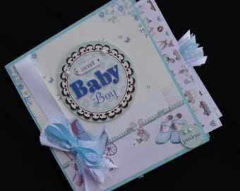 Baby Boy 8x8 Premade Paper Bag Scrapbook Album