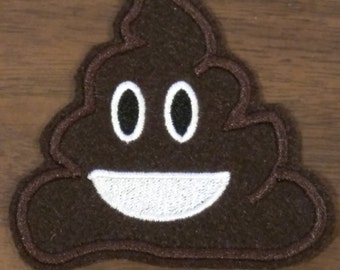 Poop emoji embroidered iron on patch
