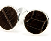 Cufflinks - Leather & Silver Cufflinks - Café Brown Embossed Leather Silver Cufflinks - Third Anniversary Gift, Fathers Day Gift