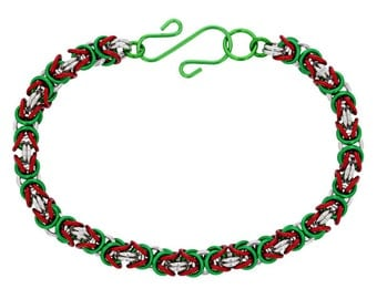 Kit - 3 Color Byzantine Chainmaille Bracelet Kit - Mrs. Clause - Enameled Copper