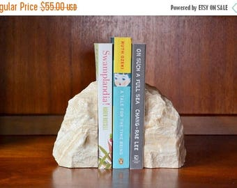 SALE 25% OFF vintage midcentury stone bookends / geological / natural home decor / minimalist
