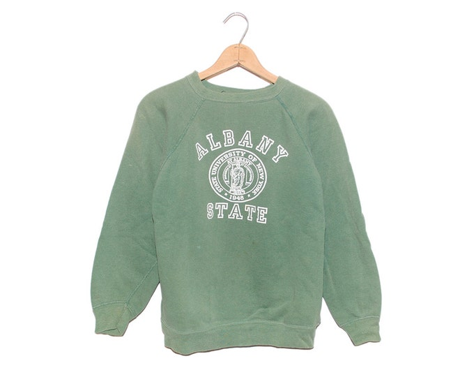 Vintage Albany State University of New York Forest Green Distressed Sweatshirt Made in USA - Medium (OS-SS-4)