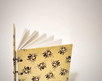 bee journal - coptic bound writing journal - yellow and black journal - yellow journal - yellow notebook - blank yellow journal notebook