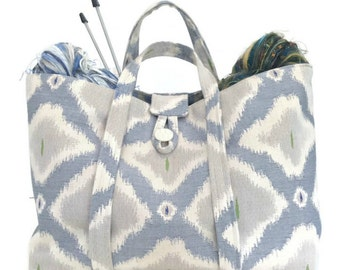 Large Knitting Bag Taupe Ikat Tote Travel Bag Project Bag Fully Lined Inside Pocket Knitting Organizer Knitting Tote Bag Upholstery Bag