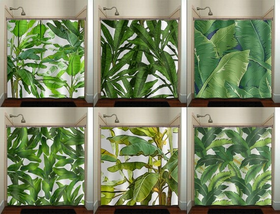Tropical Jungle Green Palm Banana Leaf Shower Curtain Fabric