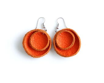 Orange leather flower Earrings SALE
