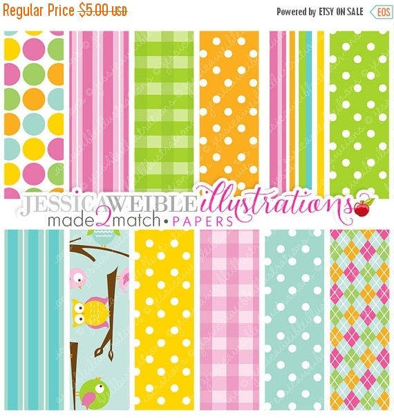 ON SALE Out on a Limb Cute Digital Papers for Card Design, Scrapbooking, and Web Design - Owl Paper Design