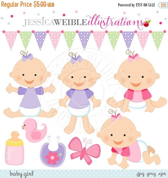 ON SALE Baby Girl Cute Digital Clipart for Card Design, Scrapbooking, and Web Design