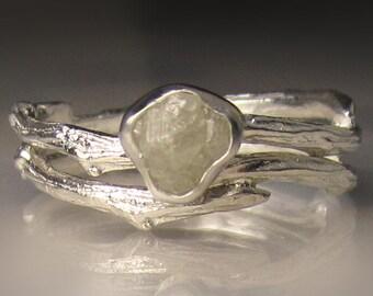 Raw Diamond  Ring, Raw Diamond Engagement Ring, Rough Diamond Ring, Raw Engagement Set