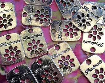 Metal Stamped Cabochons Stamped Handmade  Personal Flair Tag 25 Tags Personal Flair Handmade With Pride Branding Personalization Tags