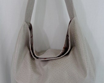 Beige Alligator Skin, Extra Large Slouchy BAG, Shoulder Purse, Hobo, Diaper BAG, Work Purse, Spring Summer